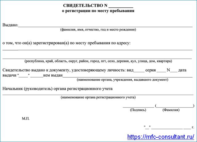 Образец свидетельства о временной регистрации по месту пребывания